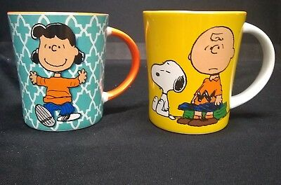 2 Gibson Peanuts Coffee Cups Charlie Brown & Snoopy and Lucy
