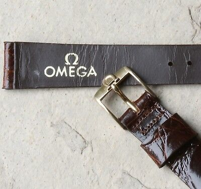 Omega vintage watch band 1950s Genuine Alligator 16mm yellow Omega buckle NOS