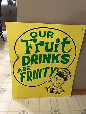 Vntage Abbotts Dairy Fruity Drink Bread Sign Neat Colorful Double Sided