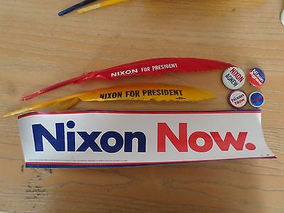 Vintage political nixon agnew feathers bumper sticker pinbacks lot red