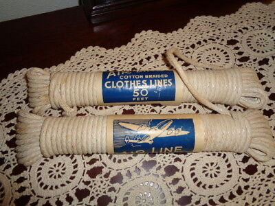 Rare Vintage Air Line Cotton Braided Laundry Clothesline x2 In One Airplane Wrap