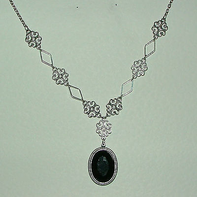 Lacy Filigree Victorian Style Black Acrylic Dark Silver Plated Pendant Necklace