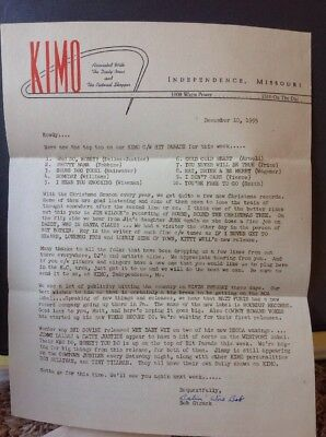 1955 Radio Station KIMO Survey Chart Elvis Presley Letter