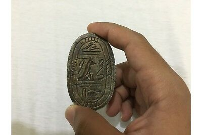 RARE ANCIENT EGYPTIAN ANTIQUE Scarab Carved Stone 1450-1210 BC