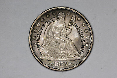 "1873 U.S. Seated Liberty HALF, Counterstamped ""BRADLEY & SMITH / BRUSHES. N.Y."""