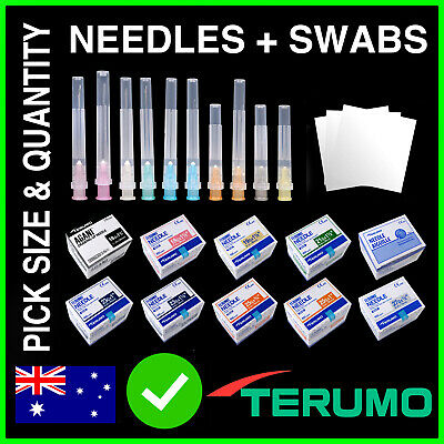 Terumo Needles + Alcohol Swabs 100/50/25/10/1 Hypodermic Syringe Sharps or Blunt