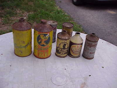 Collection  Of Vintage Cone Top  Beer Cans And Flat Top Beer Cans