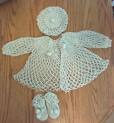 Vintage Hand Crocheted Baby Sweater Set 3 piece.