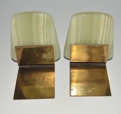 Vintage Deco - Mid Century ••• Marble and Brass Bookends