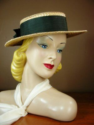 Vintage 40s Straw Boater Sailor Hat Black Band Bow Fancy Plait Summer sz 22 H6