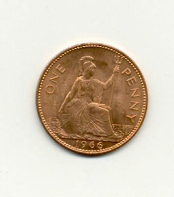 Great Britain One Penney Coin, 1966