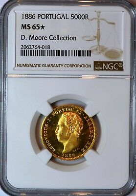 1886 Portugal Gold 5000R NGC MS65 star, ex. D. Moore Collection!
