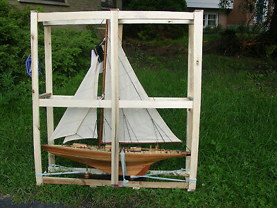wooden model of a sailing boat