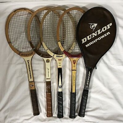 Lot of 4 Vintage Wooden Tennis Racquets Rackets PLUS BONUS LQQK!l