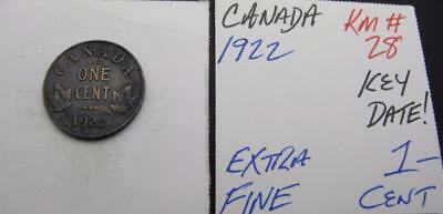 Canada 1922 1-Cent! Extra Fine! Key Date! Km# 28! Really Nice Type Coin! Look!