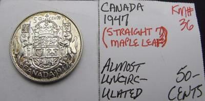 Canada 1947 Silver 50-Cents! Almost Unc! 'str. 7! Km#36! Nice Type Coin! Look!