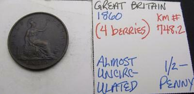 Great Britain 1860 1/2-Penny! 4-Berries! Almost Unc! Km# 748.2! Nice Type Coin!