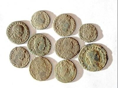 10 ANCIENT ROMAN COINS AE3 - Uncleaned and As Found! - Unique Lot 15451