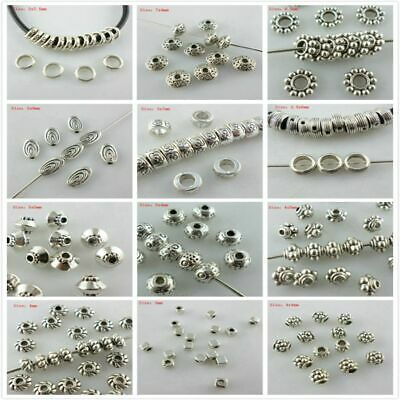 Wholesale Alloy Silver Cube Tube Charm Loose Spacer Beads DIY Jewelry Findings