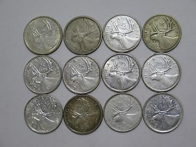 Canada 25 Cents Silver Type Mixed Date Old World Coin Collection Lot