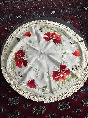 Antique Table Linen Round Mission Style Stickley Era Poppies Embroidered Raised
