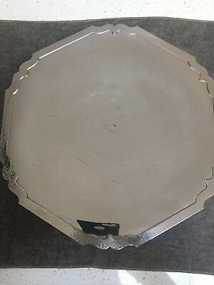 "Shreve Sterling Silver Dolores Platter Low Pedestal Polygon 11.5""-12"" across"