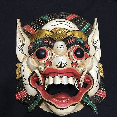 Hand Made Indonesian Wooden Wall Mask Diety Fangs Bulging Eyes Worship Evil