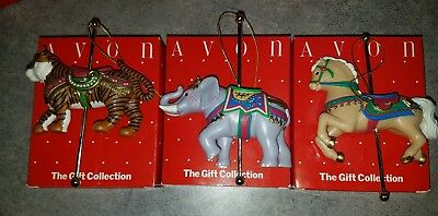 lot of 3 Avon carousel ornaments Tiger, Elephant, Steed