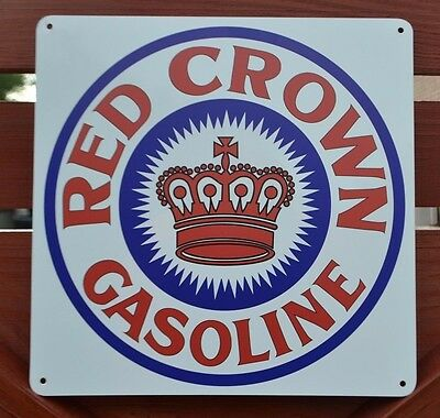 RED CROWN GASOLINE Gas Station Pump Sign Stanard Oil Company Amaco Advertising