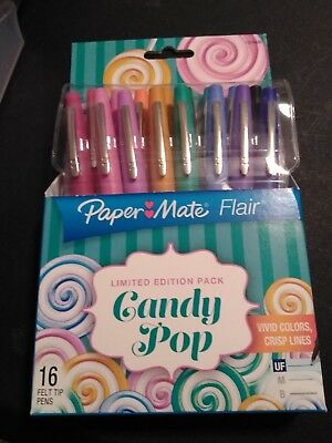 Paper Mate Flair Felt Tip Pens *Limited Edition Candy Pop* 16 pack UF point