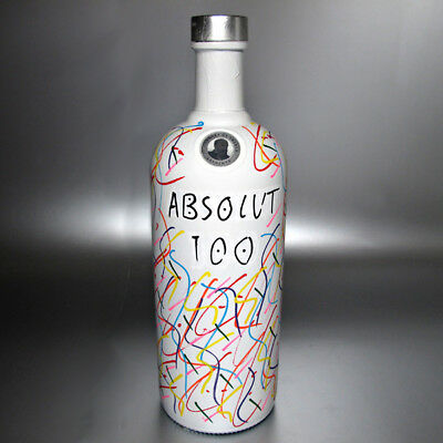 Absolut Vodka 100 Artist Bottle 1 L Color Graffiti Glow White Cut Zeng Tack