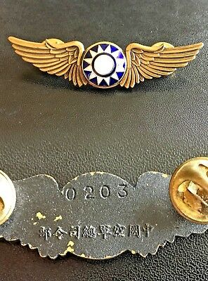 Wwii Usa China Flying Tigers Volunteer Air Force Pilot Pin - Numbered 二战中国美籍飞虎空军