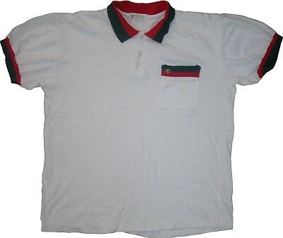 23872390 GUCCI CLASSIC COLORWAY Red Green Collar & Ringer Vtg Polo Shirt ...