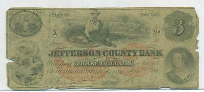 1864 Jefferson County Bank - New York $3 Note