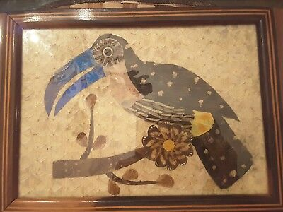 Brazilian Tucan Iridescent Butterfly Wing Art Serving Wood Tray Inlay Border