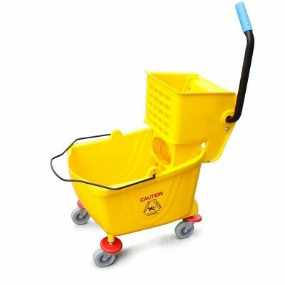 Commercial Wringer Mop Trolley Bucket Side Press Yellow 26 Qt (6.5 gallons)
