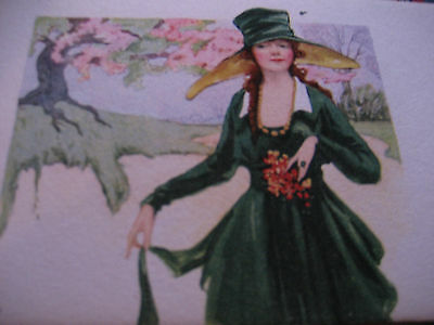 Vtg ART DECO Lovely Lady Ink Blotter OLD MASTER COFFE Unused