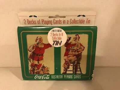1995 Coca Cola Natstalgia Playing Cards in a Christmas Tin