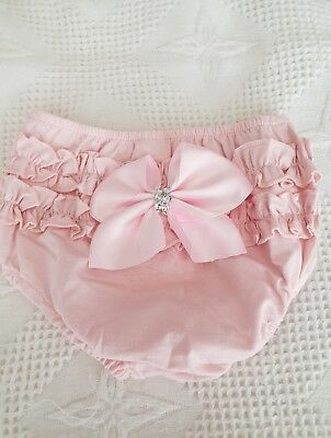 Romany baby girls Pink  frilly bum knickers-Bow-Bling size 0-3 months