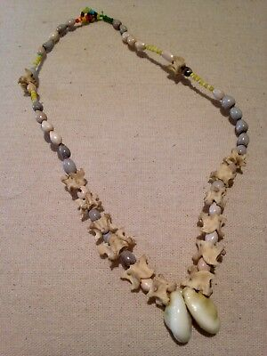 Vintage 1970s Papua New Guinea cowrie shells beads seeds vertebrae bone necklace