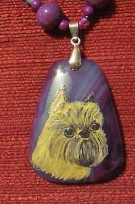 Brussels Griffon hand painted on wedge shaped purple striped Agate pendant/bead/