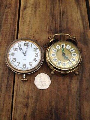 2 Vintage Travel Clocks For Spares, Repair, Parts