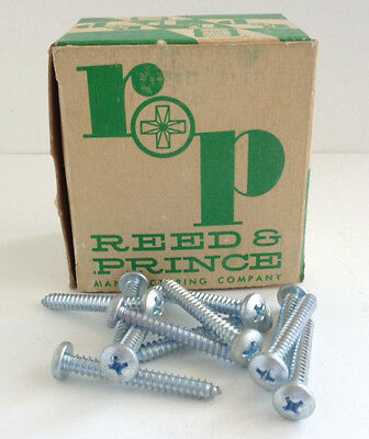 """Vintage Reed & Prince NOS 1 1/2"""" Pan Head Zinc Phillips Tapping Screws Qty 85"""