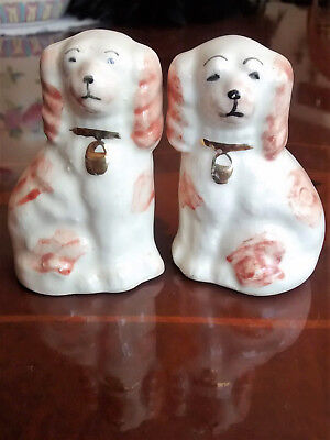 Pair vintage miniature glazed pottery fireside dogs app. 2.5 inches tall