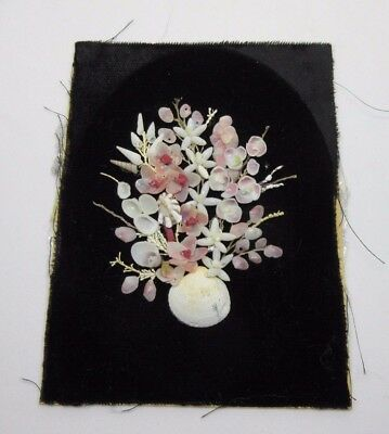 Antique Japanese Fine Miniature Floral Shell Art Picture Signed