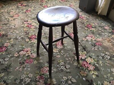 Antique Wooden Stool with turned legs and stretchers