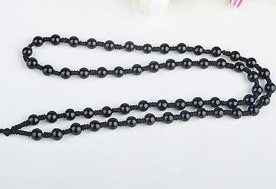 Natural black JADE obsidian Circle Black 6mm Beads string cord For Pendant A08