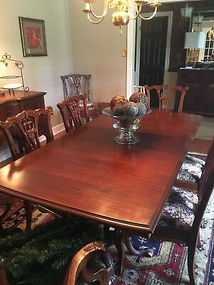 Antique Mahogany Chippendale Dining table, Chairs, China Cab, Server