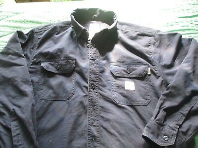 Carhartt Fire Resistant Shirt, Long Sleeved, Navy, Button Front, Size Large