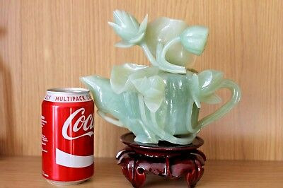Old An Heavy Great Carving Jade Jadite Lotus Flower Tea pot With Stand. Rare